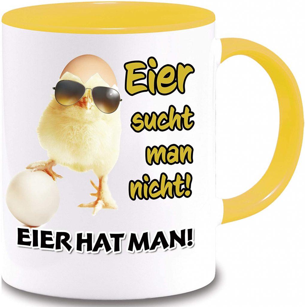"Gangster – Küken – Tasse ""Eier sucht man nicht! Eier hat man!"""