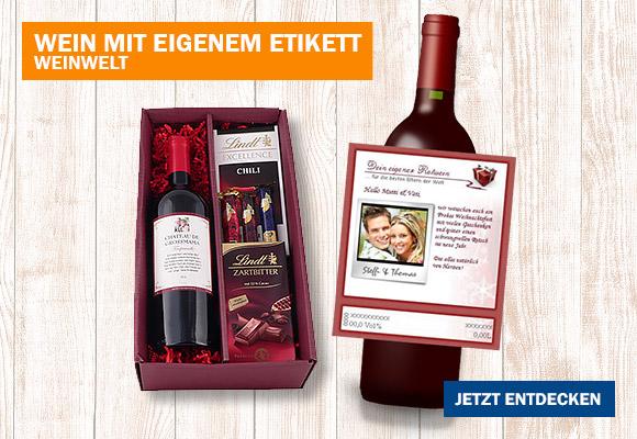 Rotwein & Schokolade mit eigenem Etikett