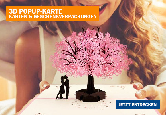3D Pop-Up Karte Liebe Kirschblüte zum Verschenken